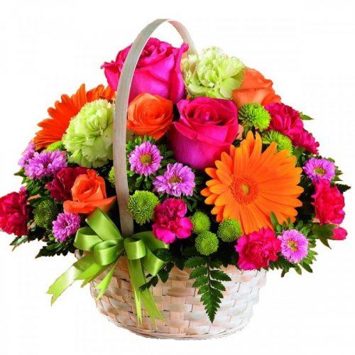 سبد گلهای صورتی و نارنجی