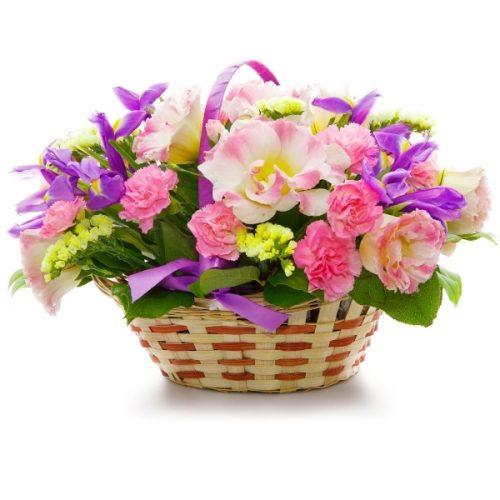 سبد گلهای بنفش و صورتی